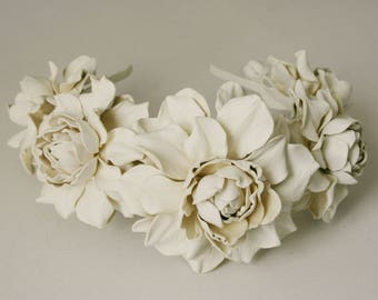 Ivory leather rose headband - Made to Order