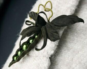 Khaki Green Pea Pod Leather Brooch Peapod Green pea