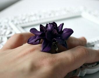 Violet leather rose flower ring
