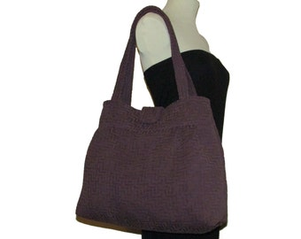 132- bag, tote, dark purple, handmade