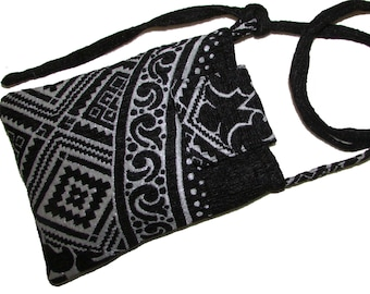135- small bag, purse, black and white color,crossbody case, cell phone case, handmade