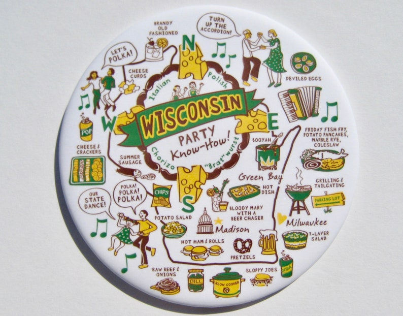 Wisconsin Party Know How Magnet. Green and Gold Edition. image 0