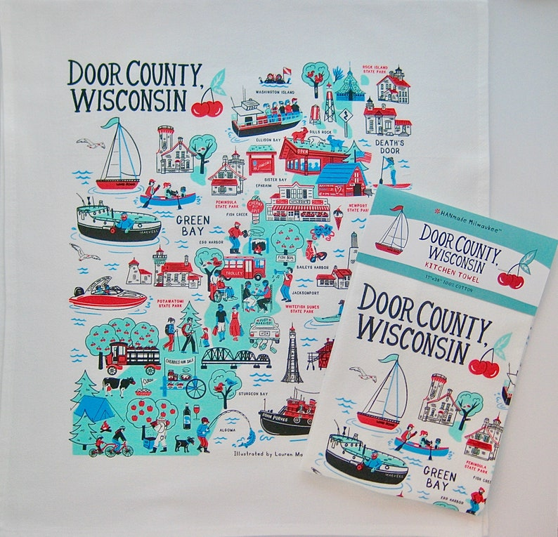 Door County Wisconsin Kitchen Towel image 0