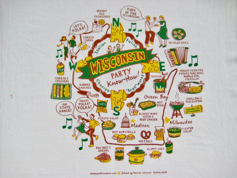 Wisconsin Party Know-How Towel. Green and Gold Edition. image 0