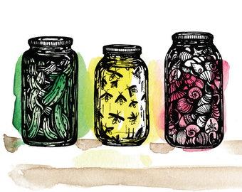 Preserving Summer 8x10 Illustration Art Print, mason jars, fireflies, seashells, pickles, Summer art, watercolor, summer decor, beach art