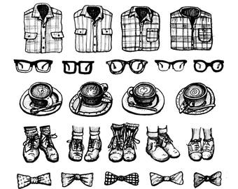 Hipsters and Coffee Illustration Art Print, Nerd Glasses, Cappuccino, Oxford Shoes, Plaid Shirts, Bow Ties, hipster style, black and white