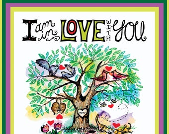 Valentine Tree of Love Illustration, Cats, Squirrels, Possums, Birds, Snakes, Love, I Love You, Romantic, Animals in Love, Hand lettering