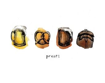 "Oktoberfest Beer Illustration, Art Print, Pretzel and Wurst, ""Prost!"", Cheers, Wall Art, Kitchen Decor, Beer Lovers, watercolor, Germany"