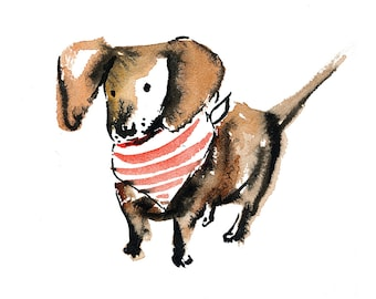 Dachshund Wall Art; 8 x 10 print of Watercolor and Ink Illustration; Dog in Bandana; Dog themed home decor; Cute puppy art; Tiny Dog Owners