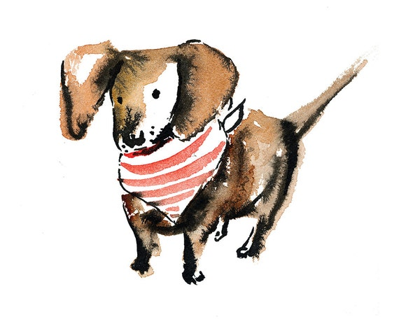 Dachshund Wall Art Watercolor and Ink Illustration Dog in   Etsy