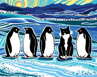Tuxedo Cat and Penguins Painted Illustration Art Print, Turquoise Blue and Gold Wall Art, Cat Painting, Animal Art, Home Decor, Antarctica,