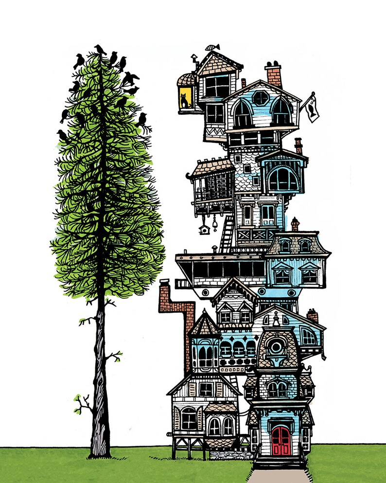 Print of Original Dream House Ink Illustration cat and bird image 0