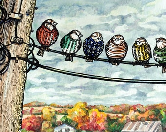Sparrows on Wire wall art print, Fashion Sweaters for Birds, matted, 5 x 7 digital print, ink and watercolor illustration, original bird art