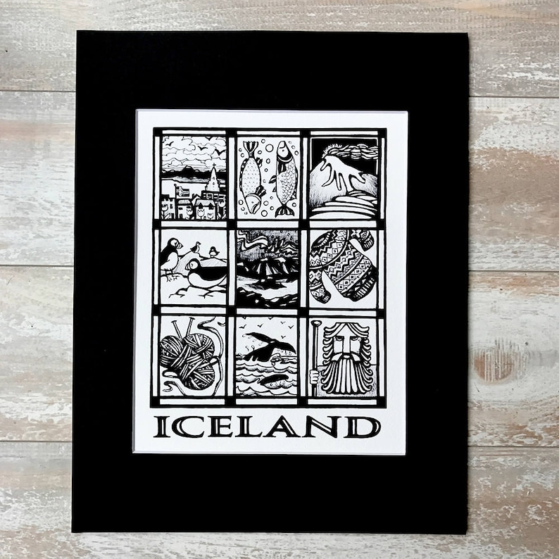 Print of Iceland Travel Poster Ink Drawing Iceland Souvenir image 0