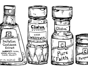 Ingredients of An Artist print, Spice Rack Illustration, Cooking Illustration, Kitchen Wall Art, Black and White Print, Food Art, 8 x 10