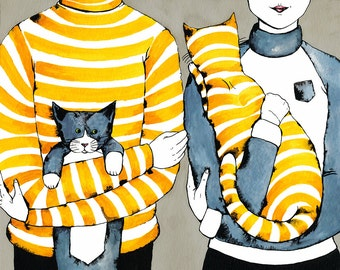Cat Illustration Wall Art: Striped Cats and Sweaters, Gray and Yellow, Family Portrait Illustration, Watercolor and Ink painting, Tabby cat