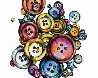 Buttons Watercolor Painting Illustration, button art, Art Print, Colorful Poster, Sewing, Notions, Button Jar, Sewing Fanatics, Mod Fashion
