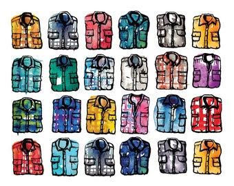 Cozy Plaid Flannel Shirts Illustration, watercolor and ink painting, fine art print, hipster, farm, wall decor, colorful modern art, fashion