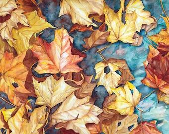 Fall Leaves Watercolor Print, maple leaves, fall foliage painting, Autumn decor, wall art, fine art print, teal, gold, tree art, nature art
