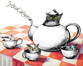 8x10 Watercolor and Ink Owls for Tea Illustration Print