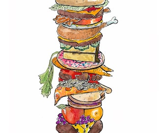 8x10 Burger Tower Watercolor and Ink Illustration Print