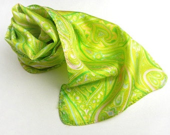 """Lime green scarf in paisley print 35"""" long rectangle vintage from 1960s // print scarf // rolled edges // mod style"""