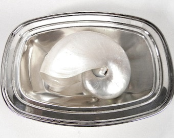 Silver plated rectangular bowl Keystonwear vintage from 1970s // serving dish // home decor