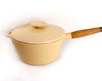 Copco deep sauce pan with lid in pale yellow enamel w/ teak handle vintage 1970s / cast iron pot /  enamelware / Michael Lax / Danish modern