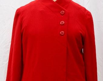 Red-Orange Kashmiracle A-Line Coat, Wellington Fashions, vintage 1960s, size small-medium (4-10)