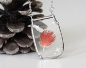 Magical Phoenix feather necklace. Miracle in a jar pendant. vial necklace. pressed fern terrarium necklace.