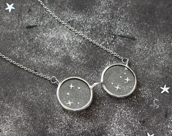 Magical reading glasses necklace. book lover gift. cosmic celestial jewelry. wizard staff. Christmas jewelry gift for her.
