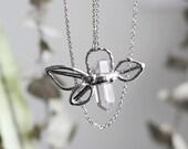 Talisman  . Leaves and gemstone necklace. Statement necklace. Boho. Bohemian jewelry. Quartz necklace. Feathers and quartz necklace