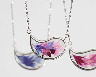 Real flower paisley necklace. pressed cornflower pendant. blue pink botanical jewelry. glass terrarium necklace. gift for nature lover.