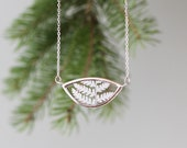 Silver fern pressed necklace. Forest flower leaf terrarium. Christmas jewelry gifts for mom.