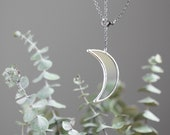 Stained glass crescent necklace. half moon celestial jewelry