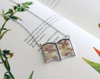 Hydrangea flower book necklace. Magical spell mini book jewelry. Fern necklace. Gifts for book lovers. Witch book