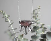 Lodolite Gemstone Necklace, Talisman Jewelry, Healing Quartz Crystal Pendant, Glass Leaf Feather Statement Necklace, Boho Fashion Accessory