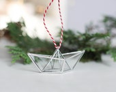 Scandinavian style christmas ornament . cute stocking stuffer. stained glass decor. christmas gift for coworker. Paper boat decoration