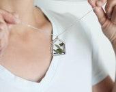 Botanical house pendant. greenhouse. plant terrarium necklace. eucalyptus glass jewelry. love home family necklace