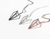 Paper airplane   . Airplane jewelry. Paper airplane necklace. Origami airplane necklace. Geometric jewelry. Origami jewelry. Pilot necklace.