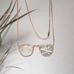 Necklace # 4 for Jennifer. pressed flower terrarum necklace. bookworm gift