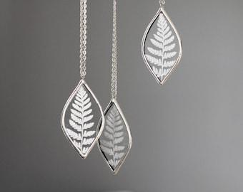 Fern . pressed plant flower terrarium necklace. fall jewelry forest leaf. woodland