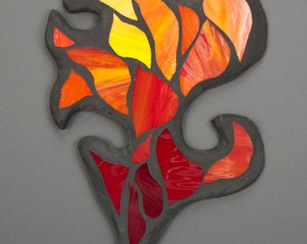 Stained Glass Mosaic Wall Art: Peach Cap Fire