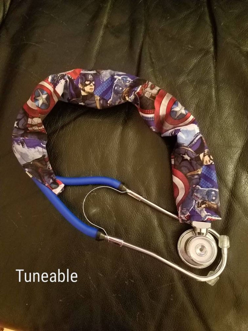 Dude Double or Tunable style RN Nurse Doc Vet HandmadeUSA Stethoscope Cover Scrunchie DAPPER FOX/'s Taupe Protect bare neck /& tubing Single