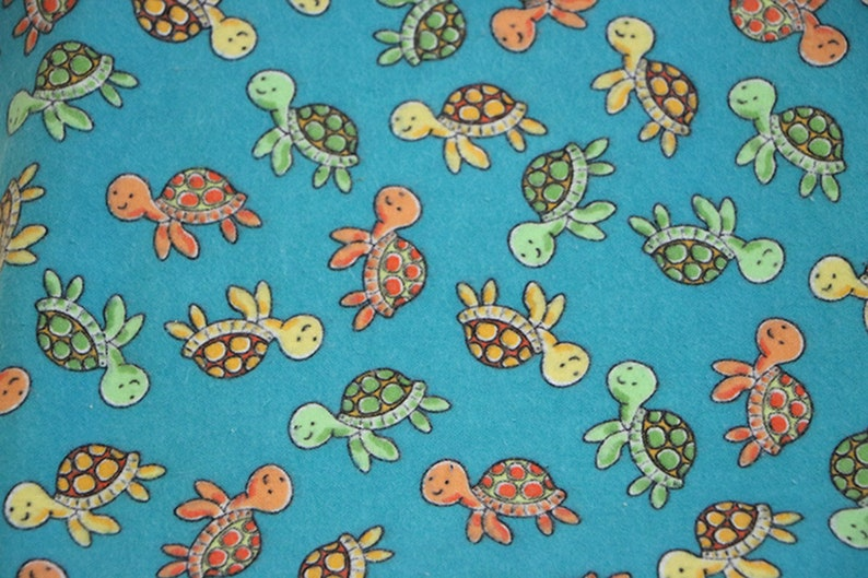 Hemstitched Flannel Baby Blanket and 2 Burp Cloths Kit Sweet Swimming Turtles Coordinating Fabric on Reverse Side