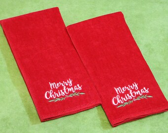 Hemstitched Kitchen Tea Towel Kit, Merry Christmas Red