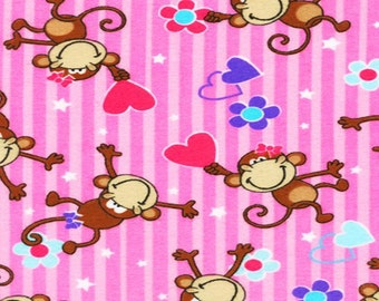 Flannel by the Yard – Smiling Monkeys 100% Cotton Flannel
