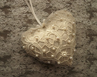 Lace Hanging Heart with Beads
