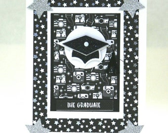 Cute Graduation card you choose inside sentiment appropriate for any age or congratulations The Graduate diplomas cameras Mortar Board Stars