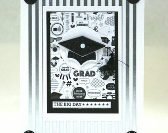 Cute Graduation card you choose inside sentiment appropriate for any age or sex the big day the future starts here stripes Mortar Board